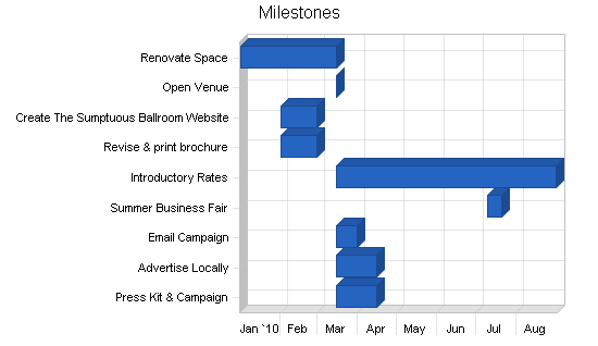Catering and ballroom rental business plan, strategy and implementation summary chart image