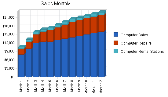 Computer software retailer business plan, strategy and implementation summary chart image
