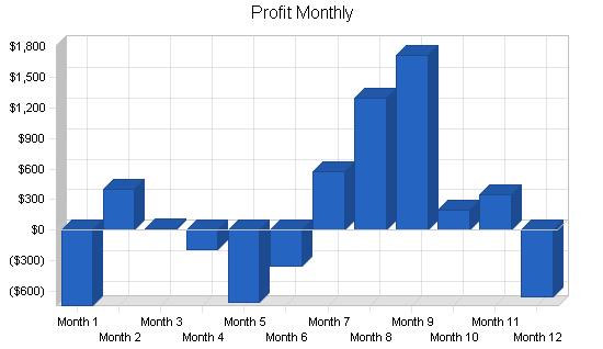 Gift shop business plan, financial plan chart image