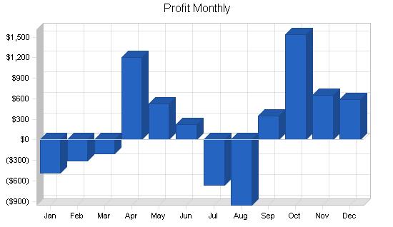 Karate business plan, financial plan chart image