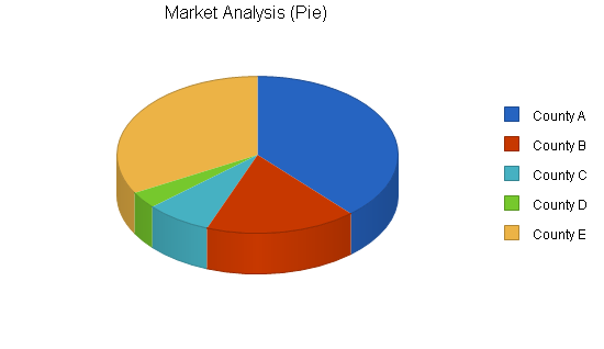 Management consulting business plan, market analysis summary chart image