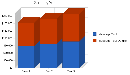 Massage products business plan, strategy and implementation summary chart image