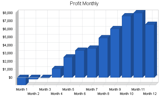 Massage products business plan, financial plan chart image