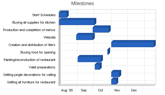 Mediterranean restaurant business plan, strategy and implementation summary chart image