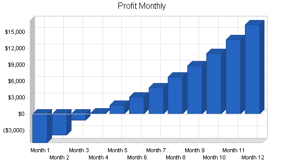 Microbrew bar business plan, financial plan chart image