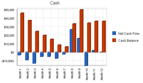 Music retail business plan, financial plan chart image