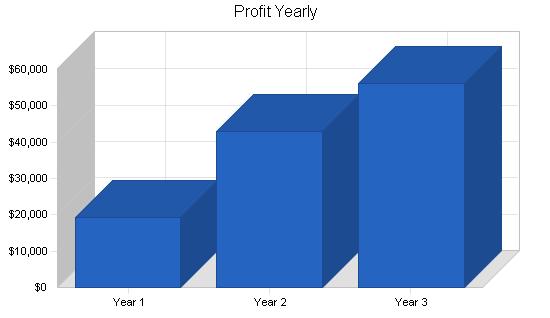 Retail bicycle shop business plan, financial plan chart image