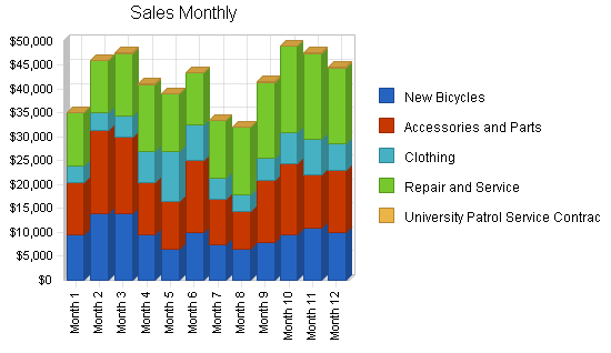 Retail bicycle shop business plan, strategy and implementation summary chart image