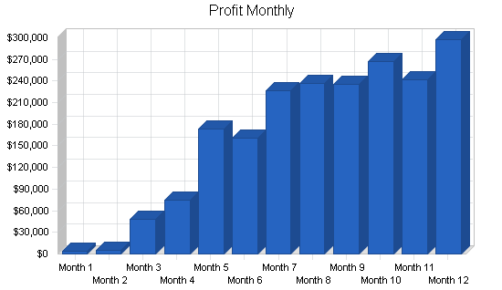 Retail tennis shop business plan, financial plan chart image