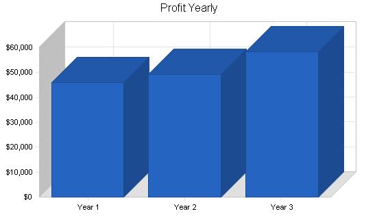 Rock climbing gym business plan, financial plan chart image