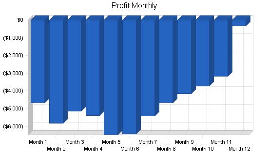 Sports clothing retail shop business plan, financial plan chart image